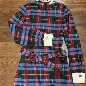 Zara Belted Plaid Dress